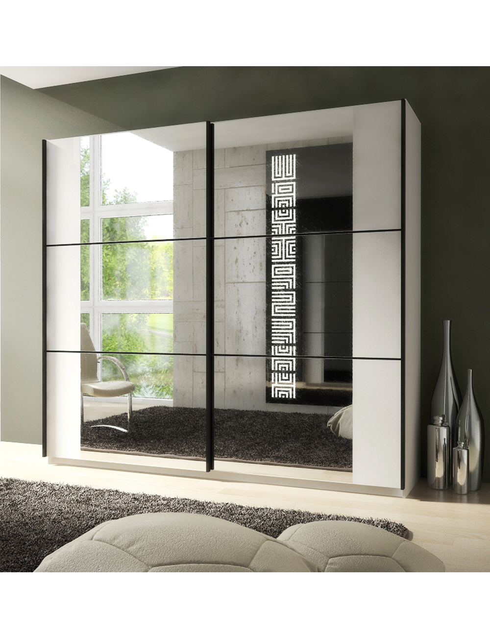 armoire zen avec 2 portes miroir coulissantes. Black Bedroom Furniture Sets. Home Design Ideas
