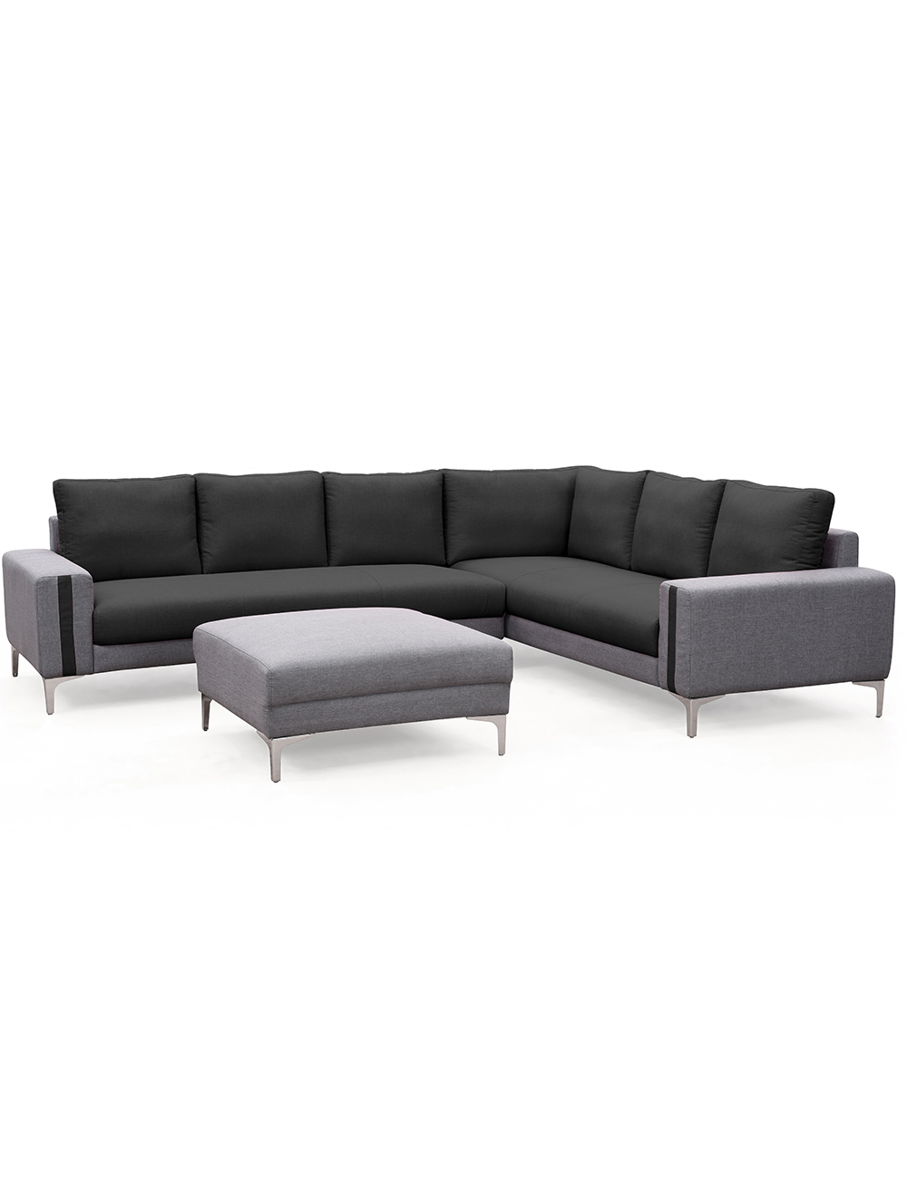 ecksofa cliff mit hocker schwarz grau. Black Bedroom Furniture Sets. Home Design Ideas