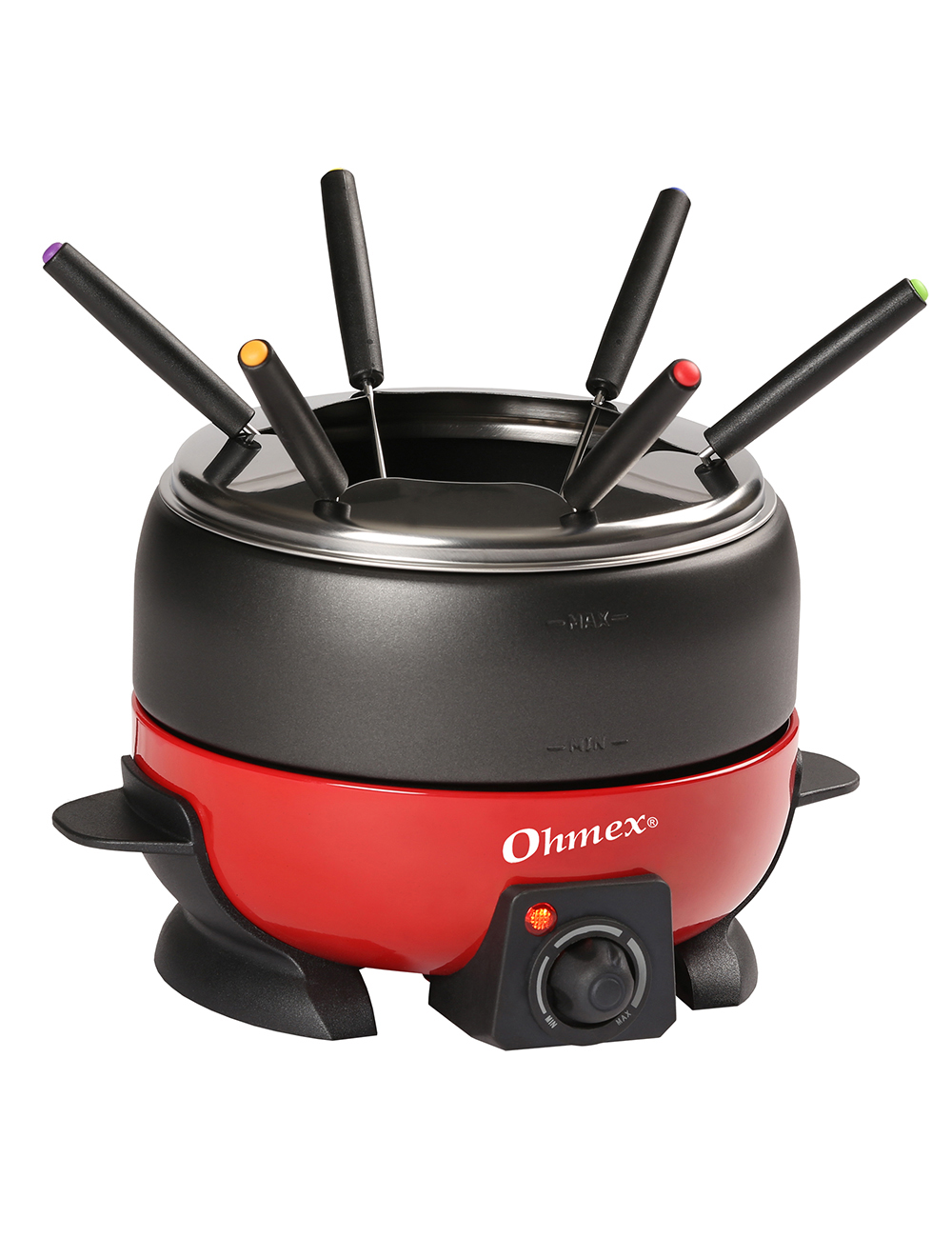fondue set ohmex mit 6 fondue gabeln. Black Bedroom Furniture Sets. Home Design Ideas