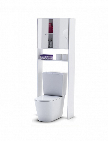 WC-Möbel mit High-Gloss-Finish, weiss