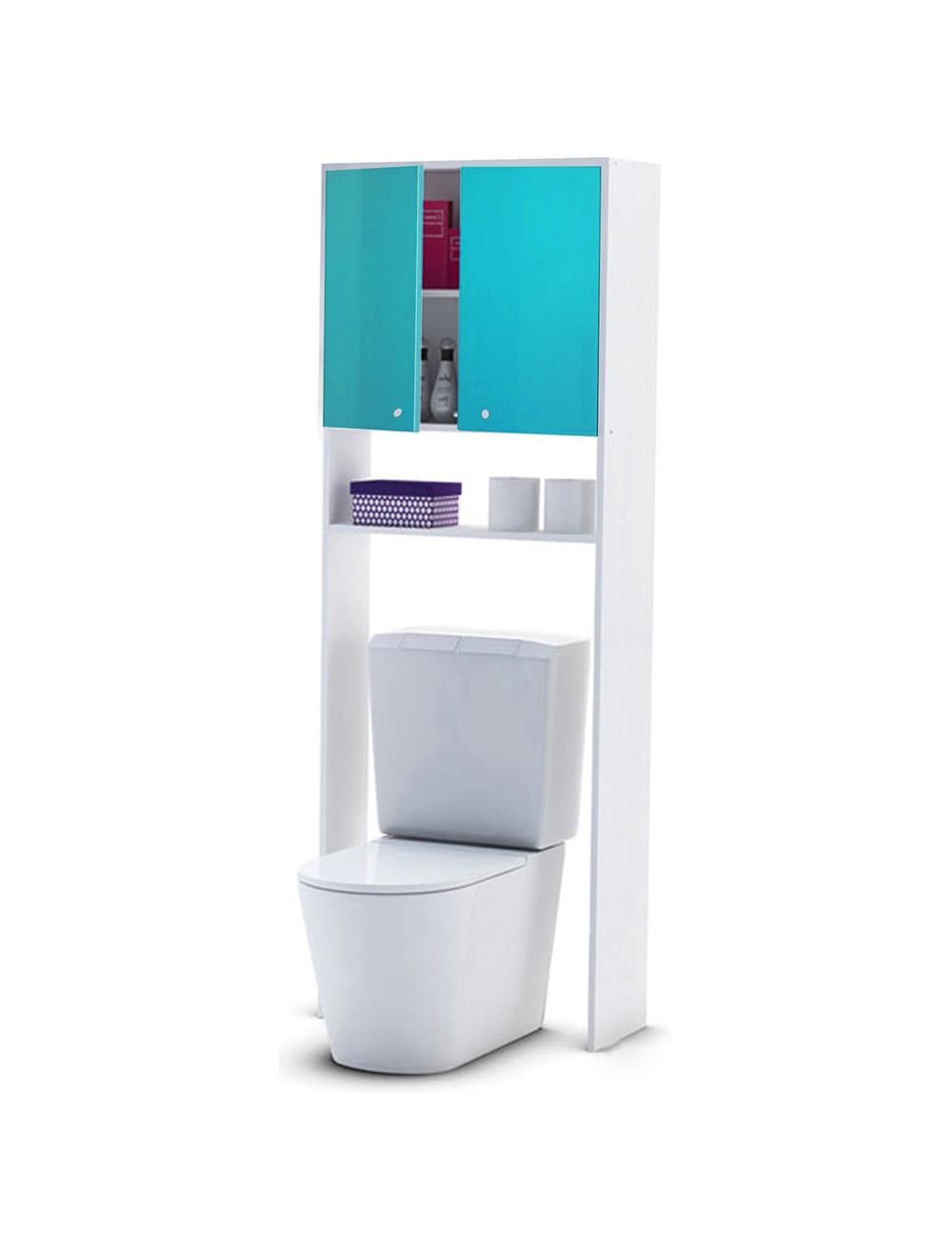Meuble wc avec finition high gloss bleu for Salle de bain avec wc