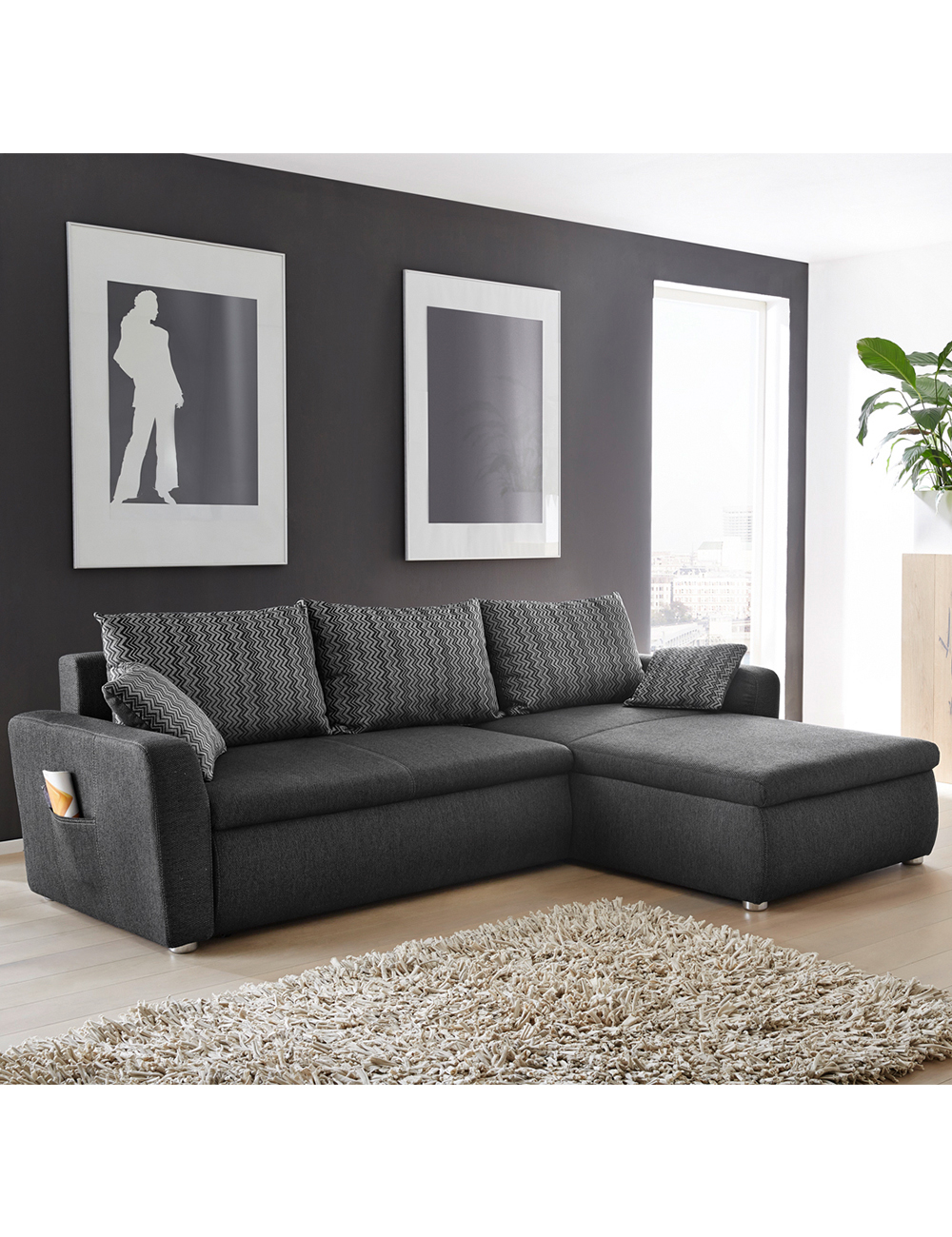 canap lit pancho avec coussins dossier. Black Bedroom Furniture Sets. Home Design Ideas