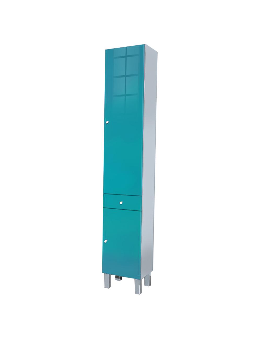 Colonne de bain avec finition high gloss bleu for Colonne de salle de bain high glossy
