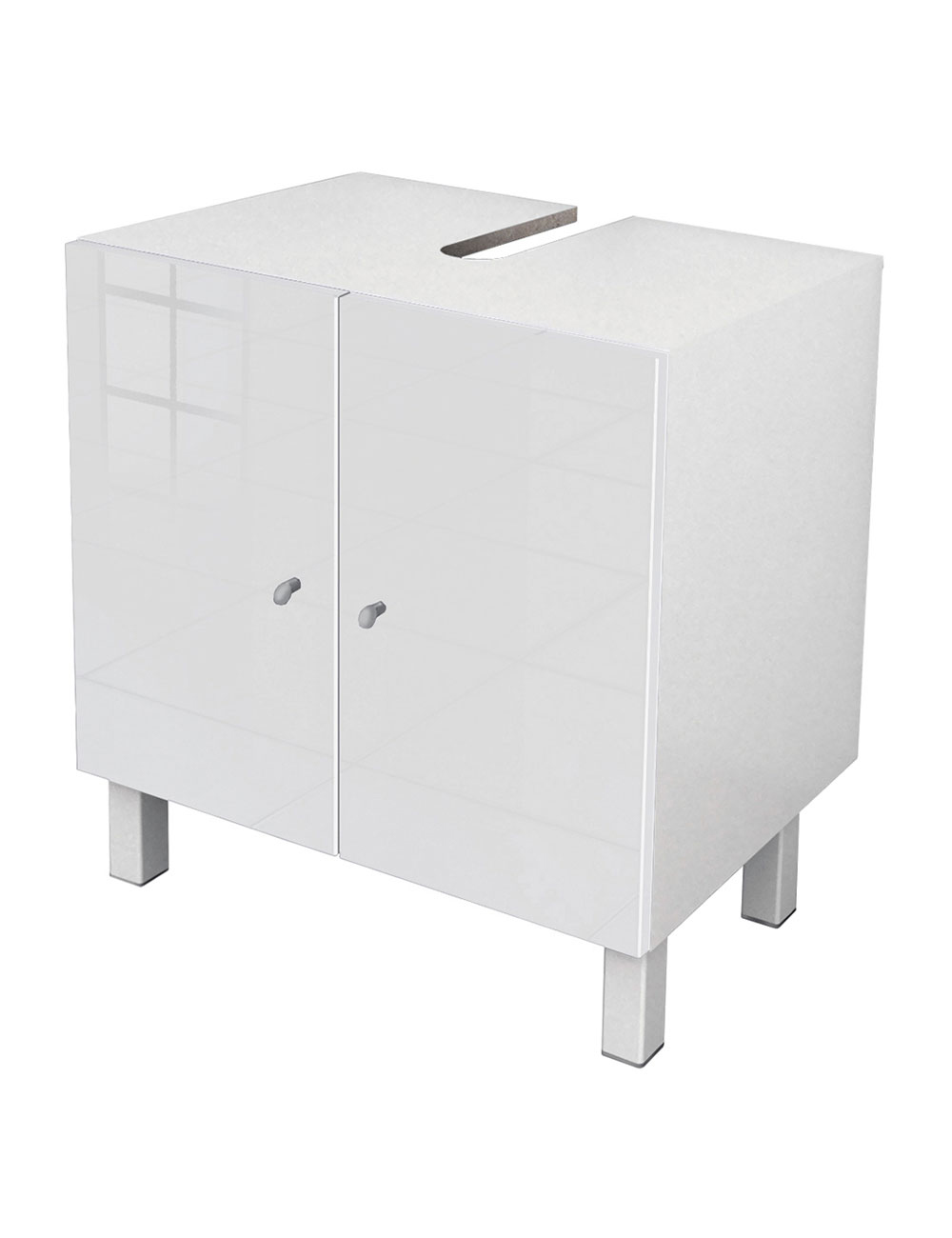 meuble sous lavabo avec finition high gloss blanc. Black Bedroom Furniture Sets. Home Design Ideas