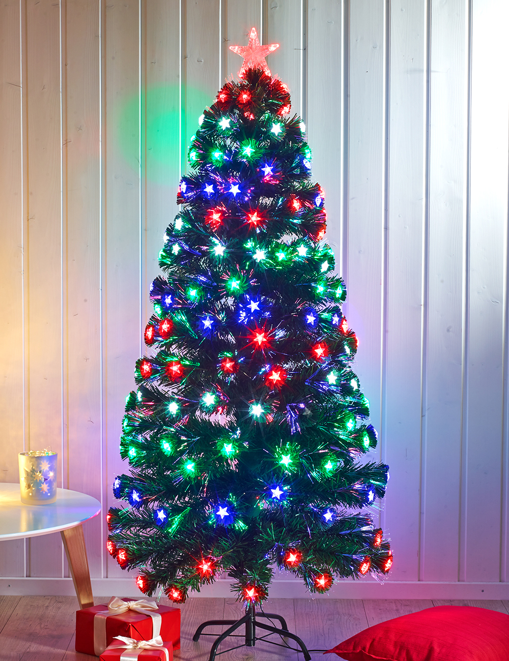 Sapin avec 170 led color es et fibre optique for Sapin led interieur