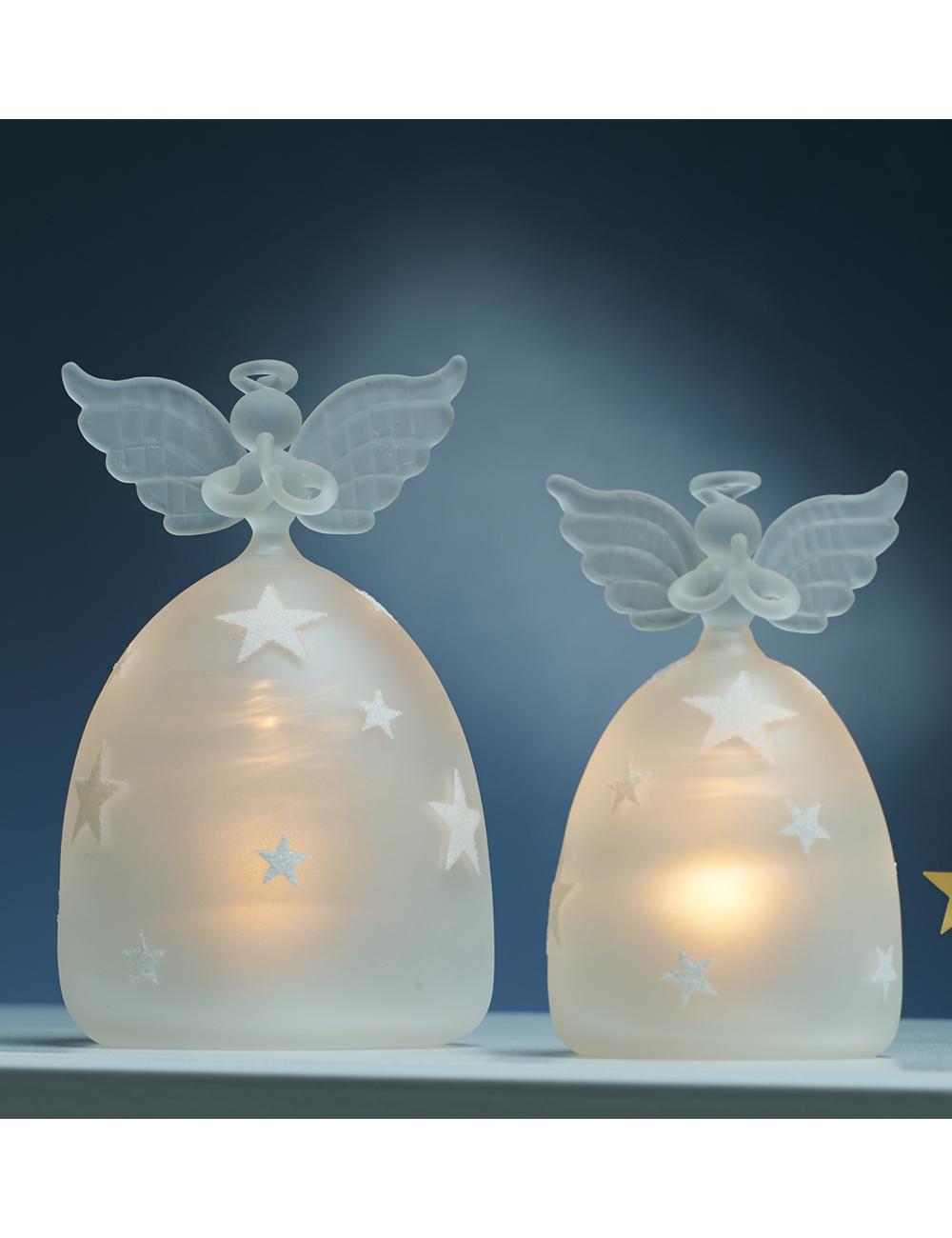 Engel Mit Beleuchtung | Engel Aus Glas Mit Led Beleuchtung Set 2 Stuck