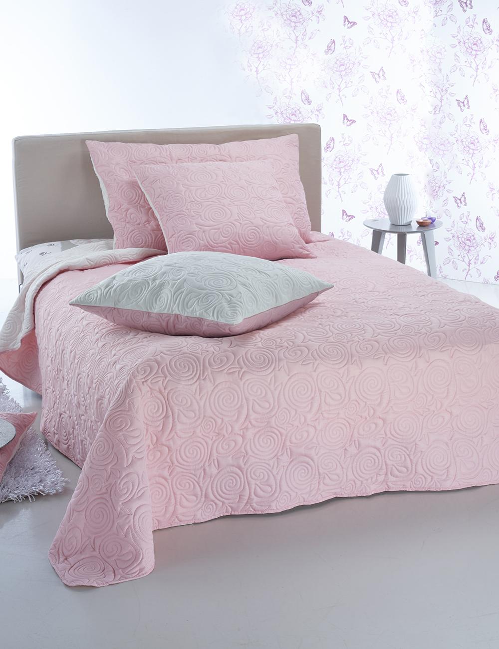 couvre lit ultra 260 x 260 cm rose ivoire. Black Bedroom Furniture Sets. Home Design Ideas