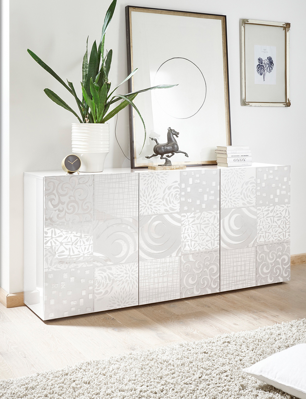 sideboard emy 3p blanc. Black Bedroom Furniture Sets. Home Design Ideas