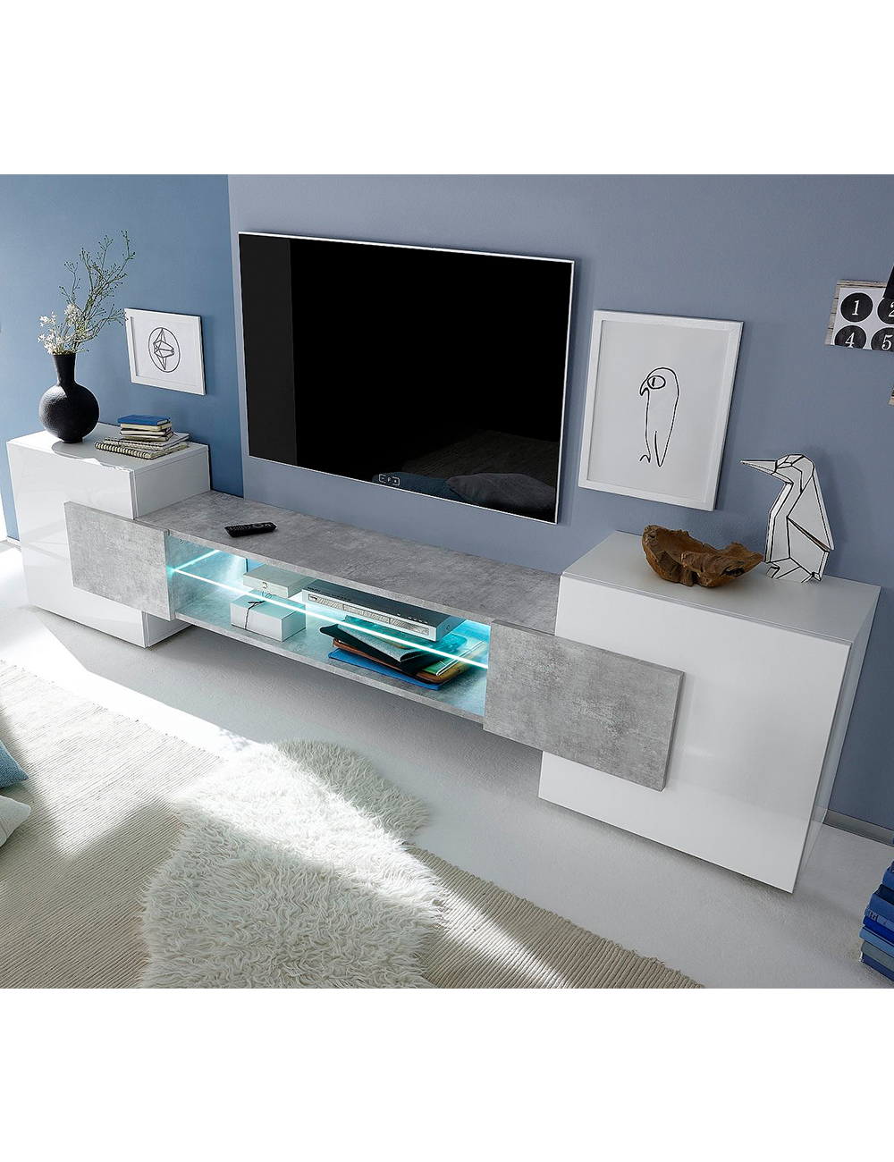 tv m bel bahamas weiss beton. Black Bedroom Furniture Sets. Home Design Ideas