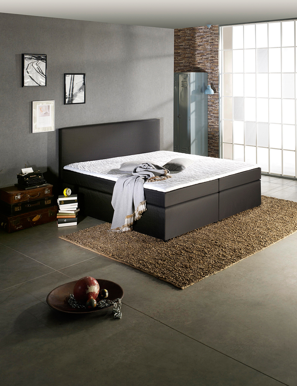 boxspring bett trendy. Black Bedroom Furniture Sets. Home Design Ideas