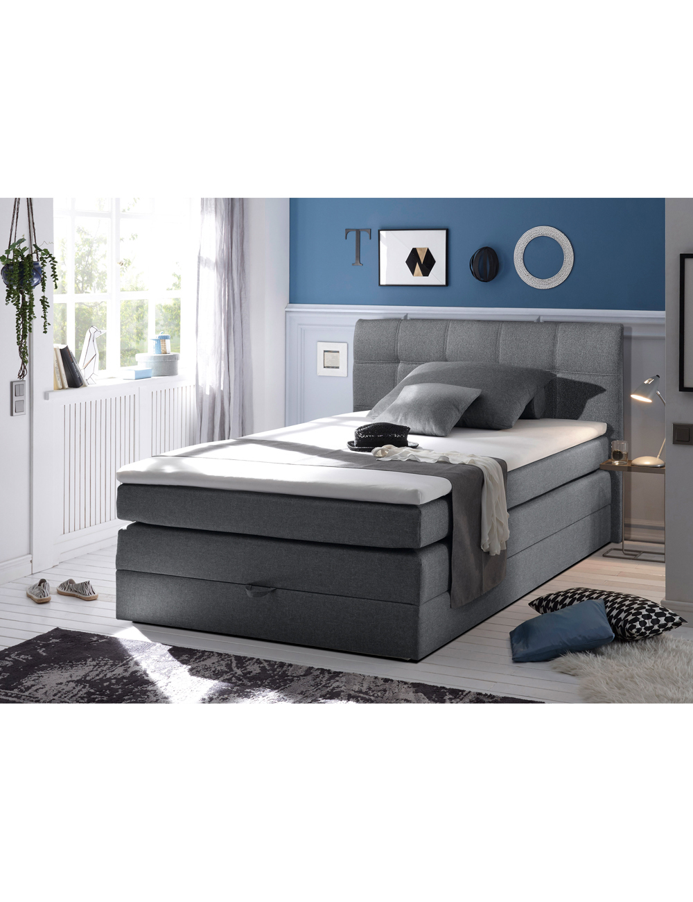 boxspringbett denver 140 x 200 cm. Black Bedroom Furniture Sets. Home Design Ideas