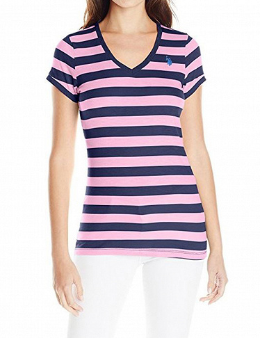 Damen T-Shirt US Polo ASSN, marine/rosa gestreift