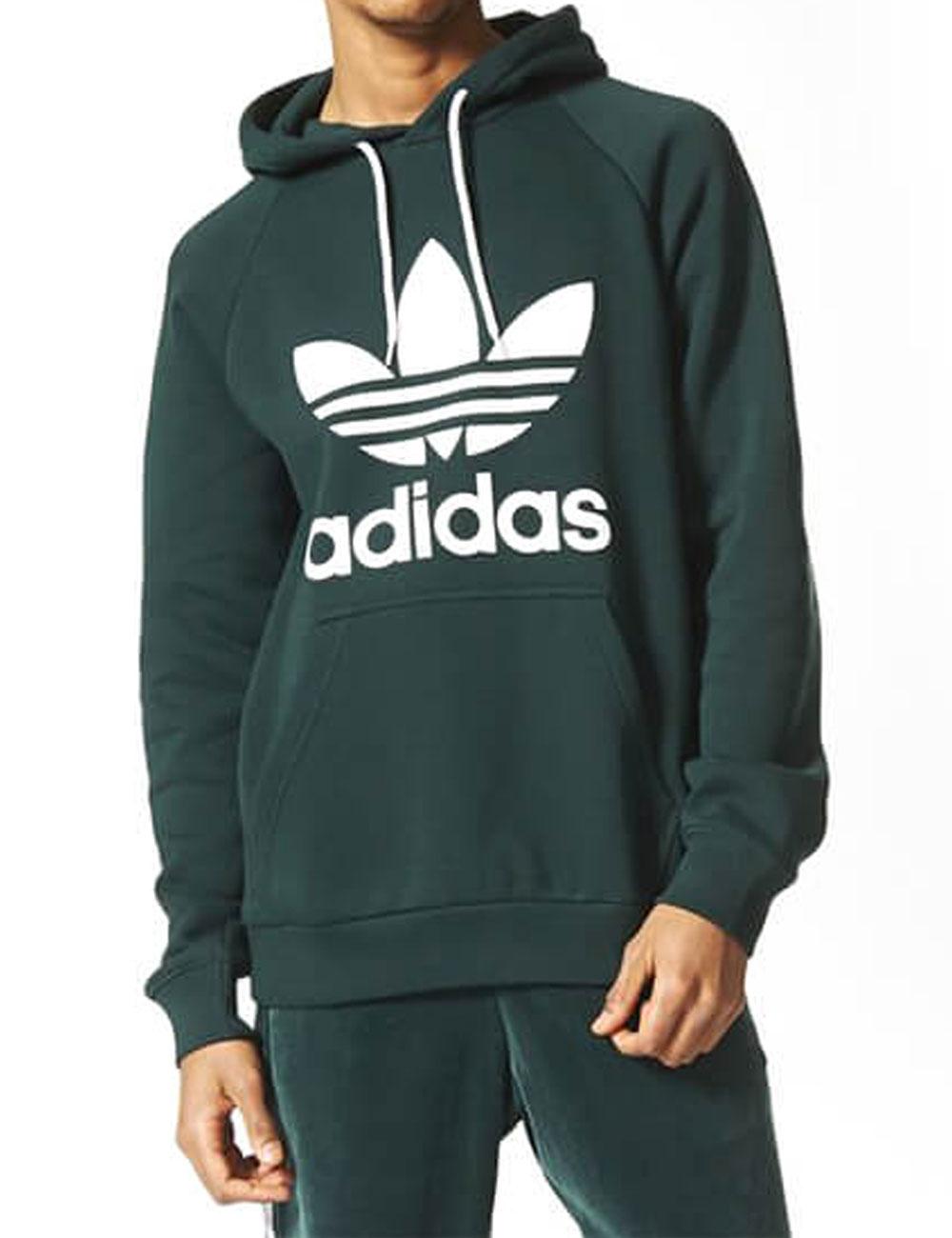 Herren Hoodie «Trefoil» von Adidas, dunkelgrün