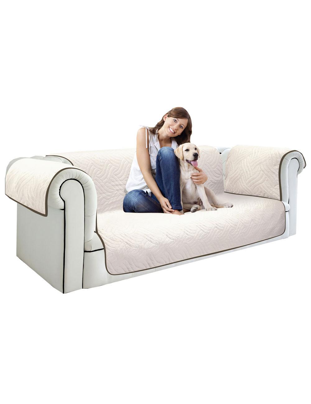 housse canap 3 places starlyf marron beige la 290 cm. Black Bedroom Furniture Sets. Home Design Ideas