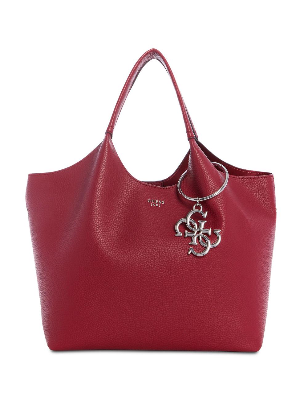 740d6ac954432 Handtasche «Shopper Flora» GUESS bordeaux