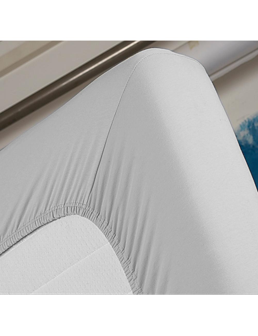 drap housse ponge stretch 90 x 200 gris. Black Bedroom Furniture Sets. Home Design Ideas