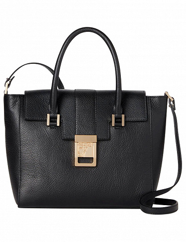 Handtasche «Pebbled Leather Convertible Satchel» von Versace, schwarz