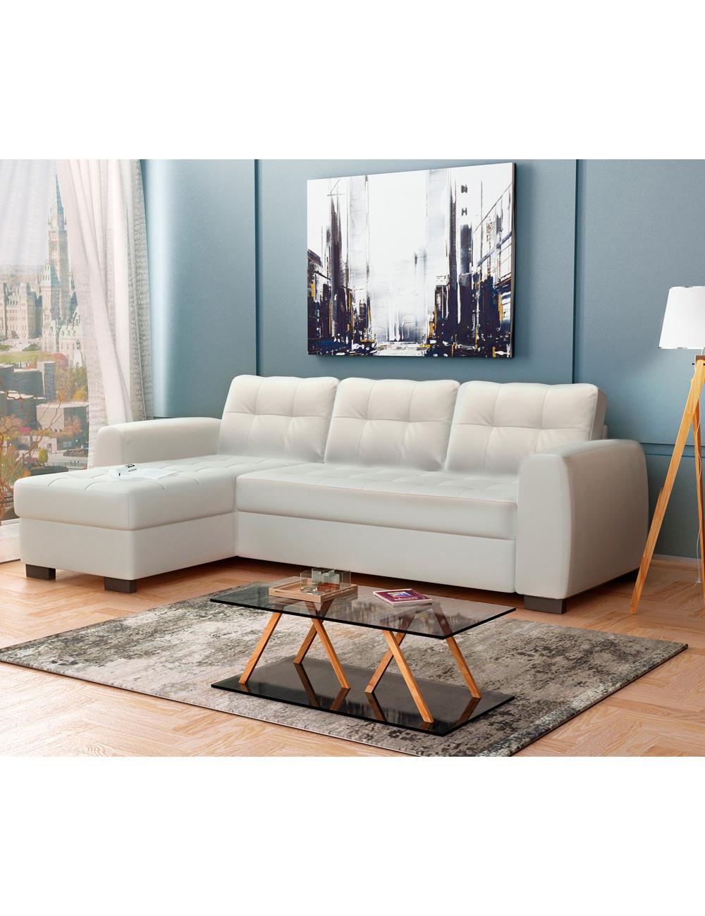 canap lit d 39 angle donna blanc. Black Bedroom Furniture Sets. Home Design Ideas
