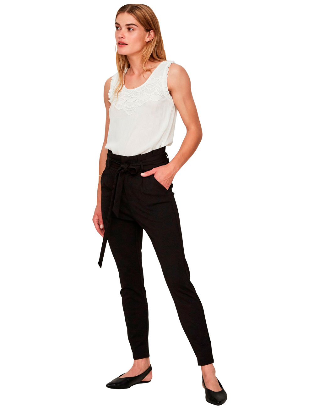 18400233ac1b Pantalon Vero Moda avec ceinture à nouer, noir, L 32