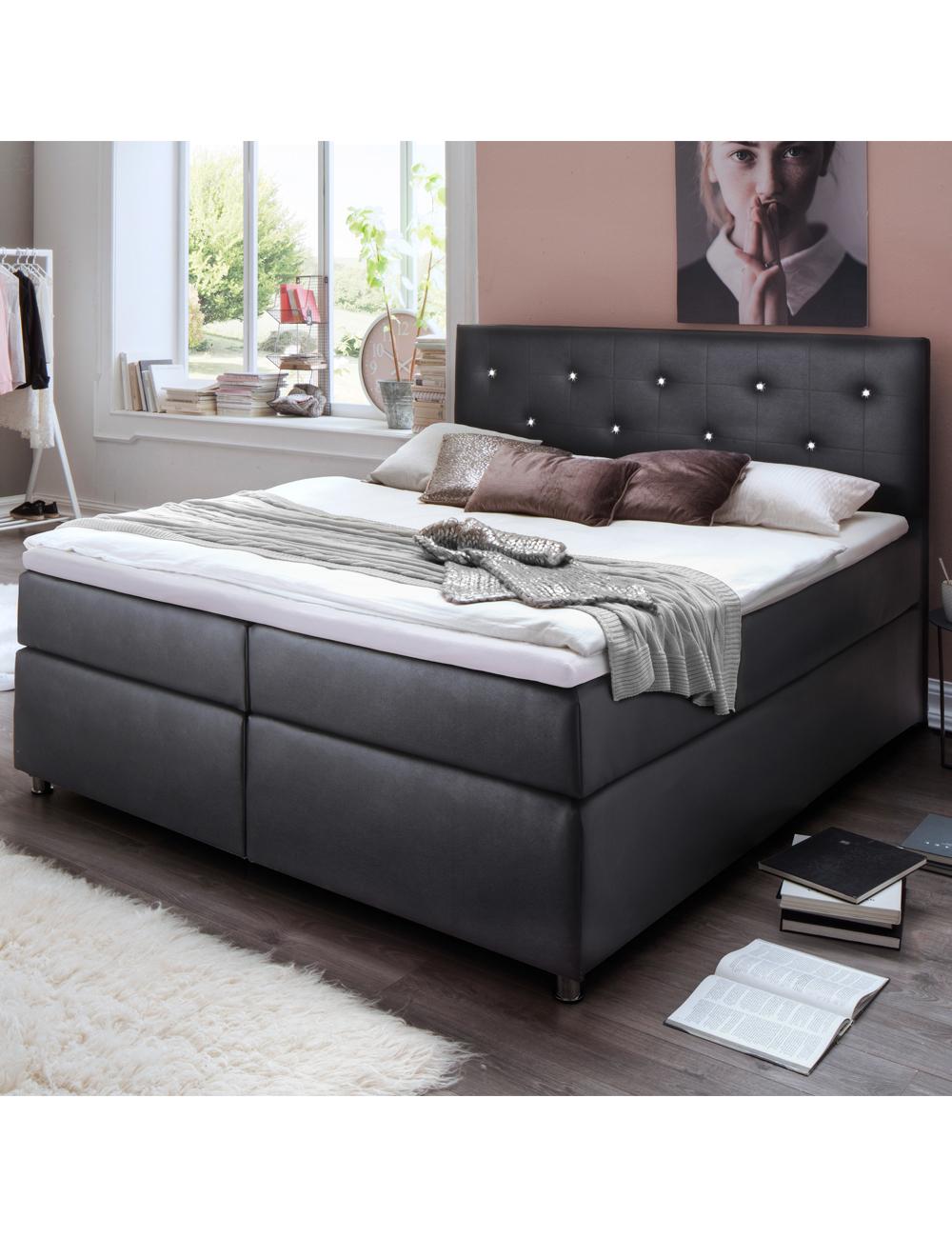 lit boxspring crystal 180 x 200 cm. Black Bedroom Furniture Sets. Home Design Ideas