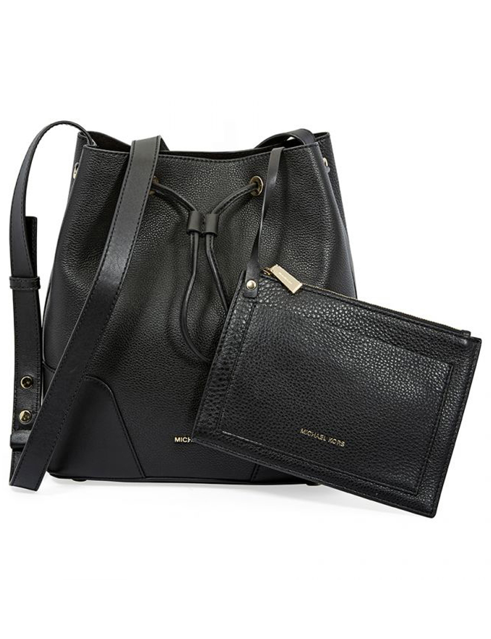 Leder Handtasche Bucket Bag Von Michael Kors Schwarz
