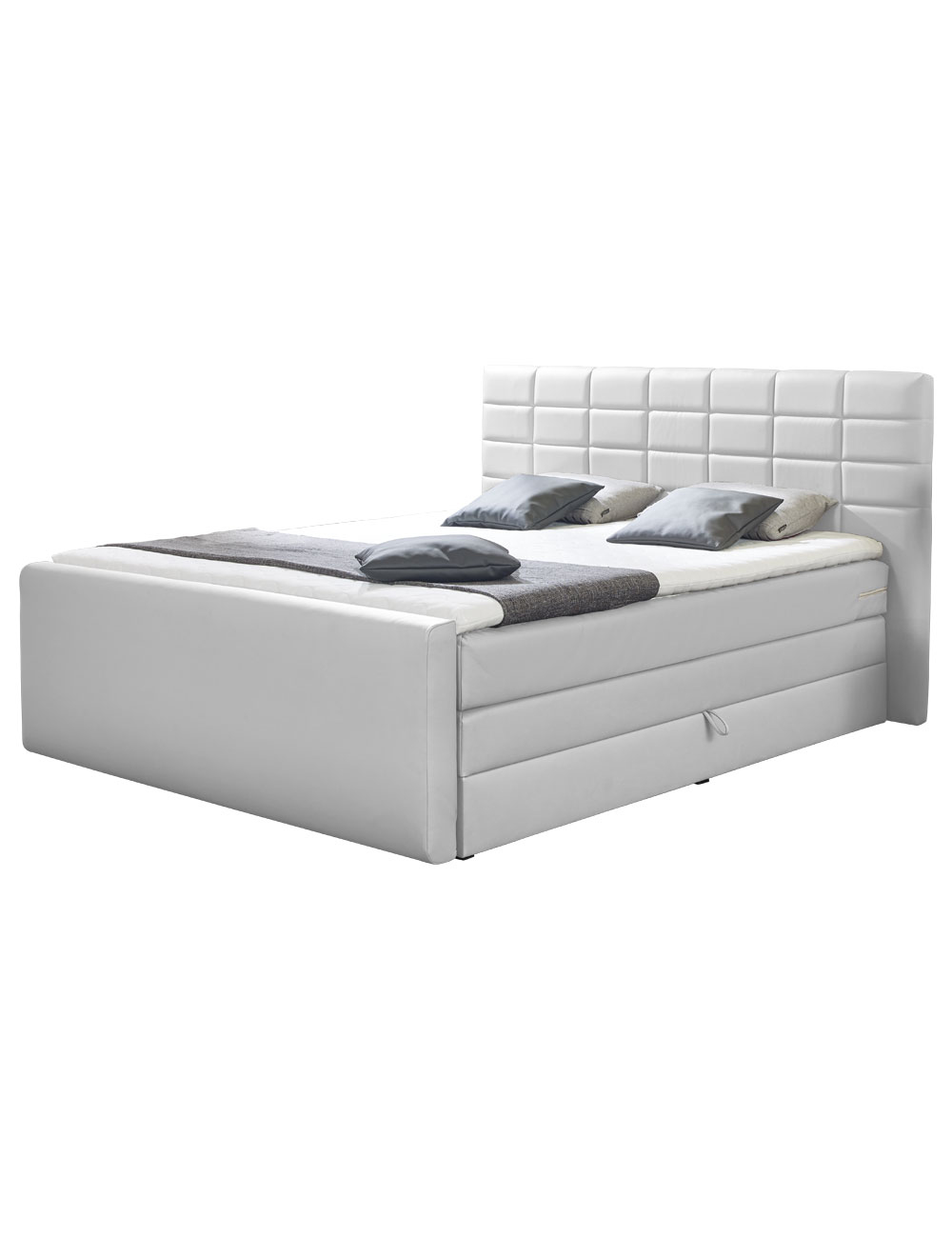 boxspring bett nora weiss 180 x 200 cm 2 boxen 2 matratzen. Black Bedroom Furniture Sets. Home Design Ideas