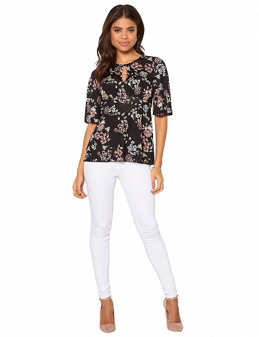 Top mit Blumenprint Happy Holly, bedruckt