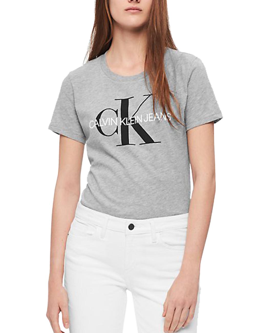Damen T Shirt Calvin Klein Grau