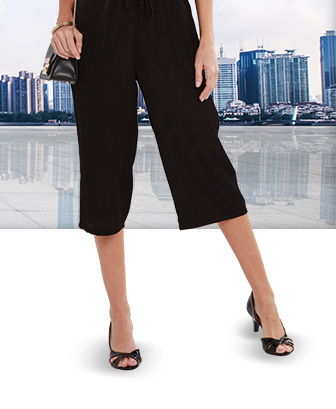 Pantalon capri, coupe ample