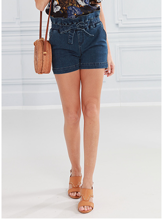 Jeans-Shorts mit Taillenvolant
