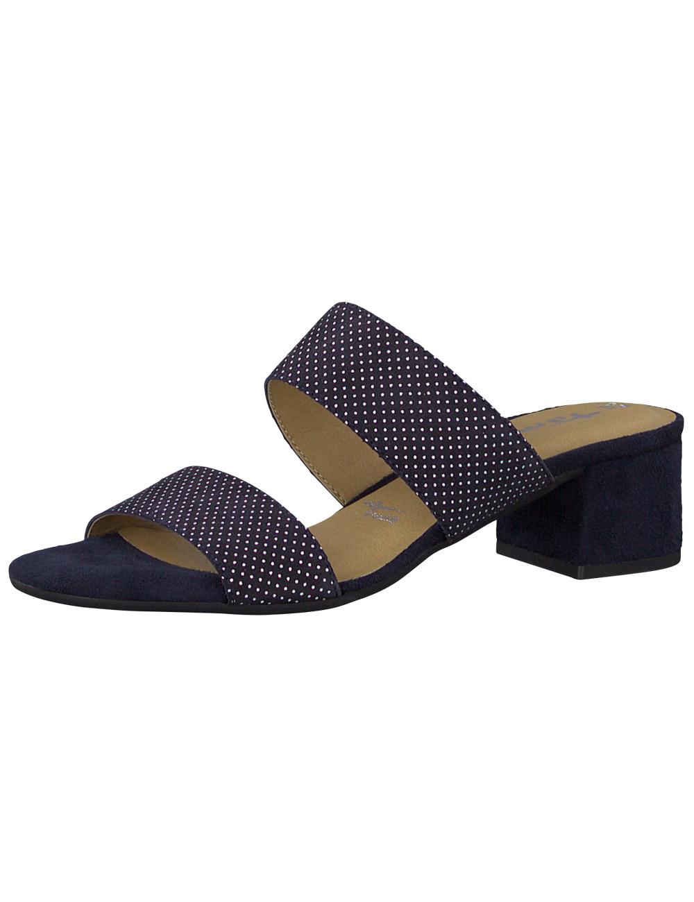 limited guantity new photos price reduced Sandaletten aus Leder mit Absatz von Tamaris, marine gepunktet