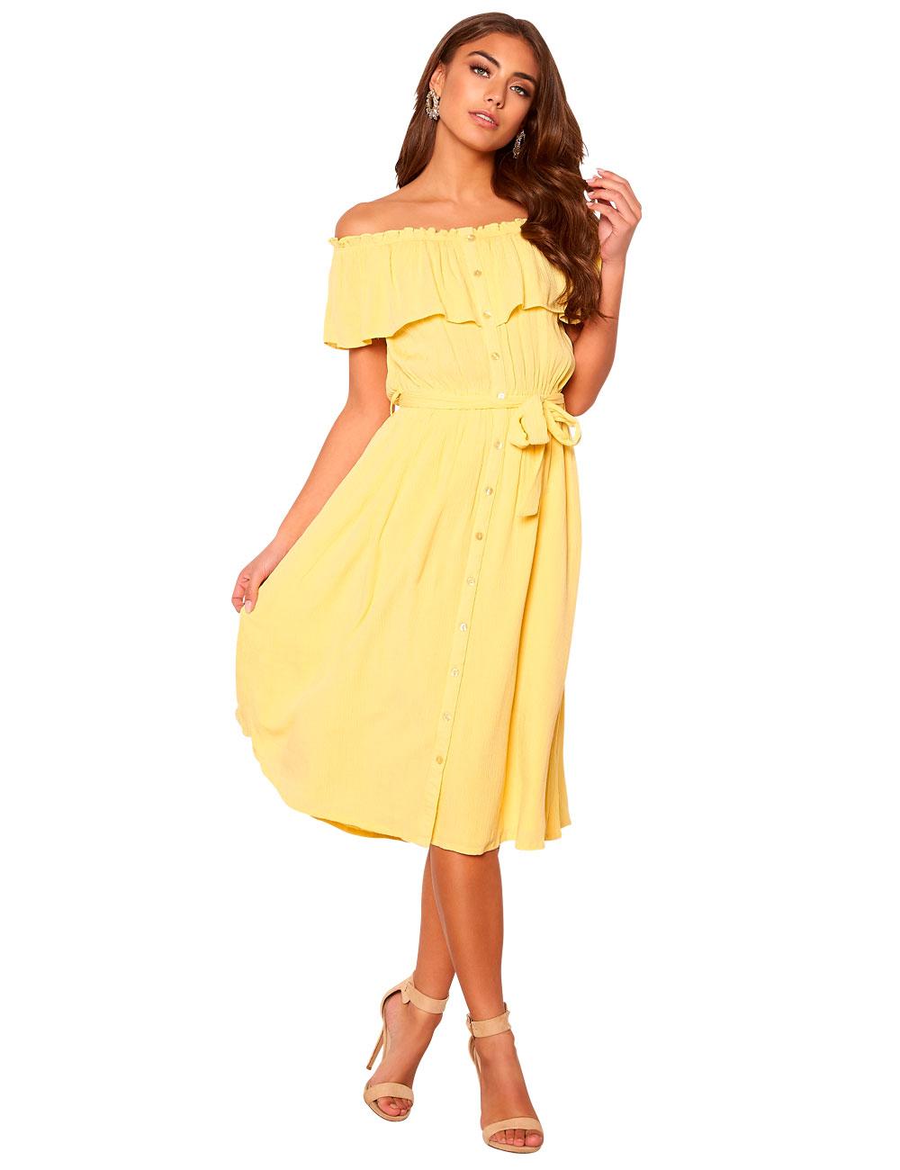 Kleid Make Way mit Carmen-Ausschnitt, gelb