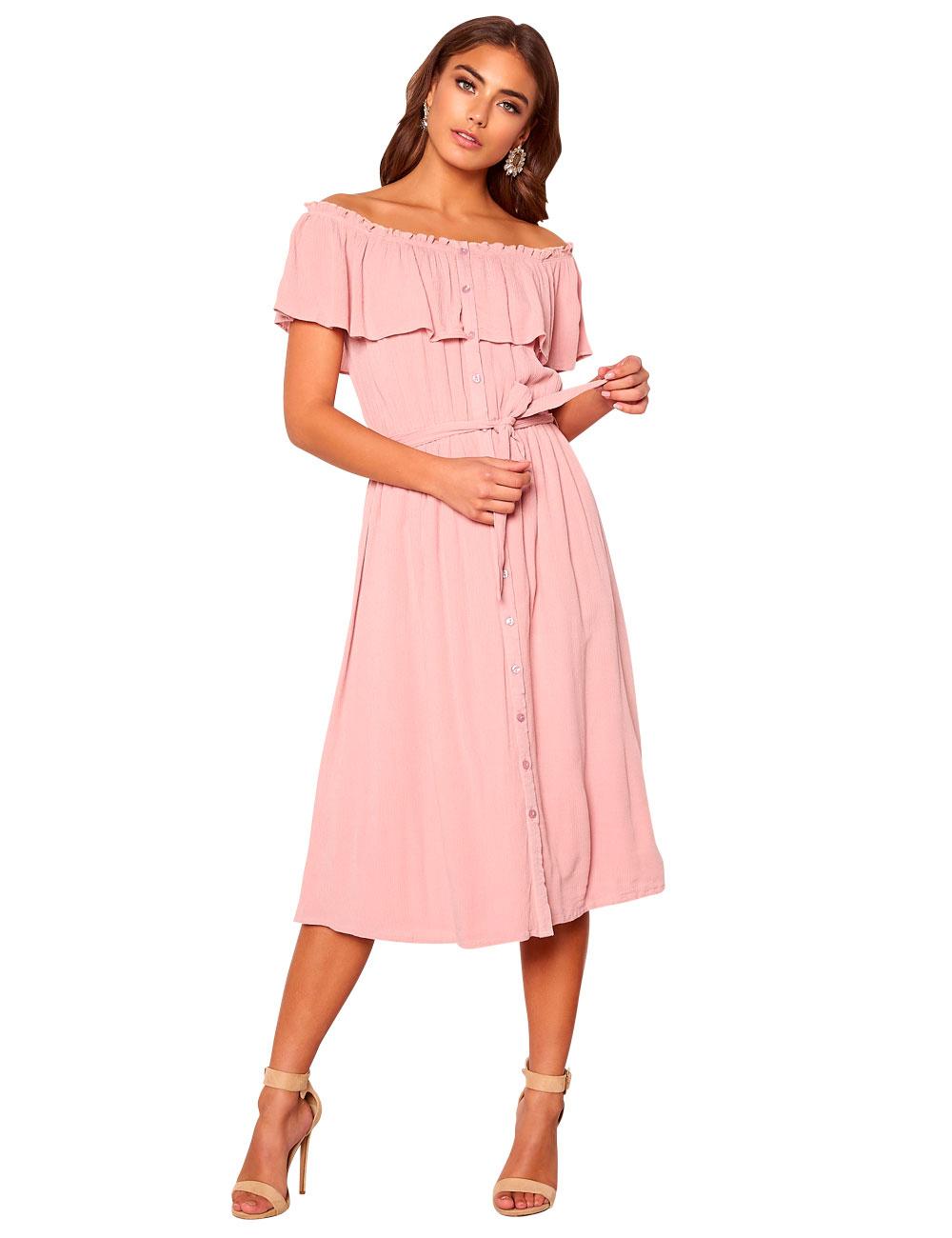 Kleid Make Way mit Carmen-Ausschnitt, blassrosa