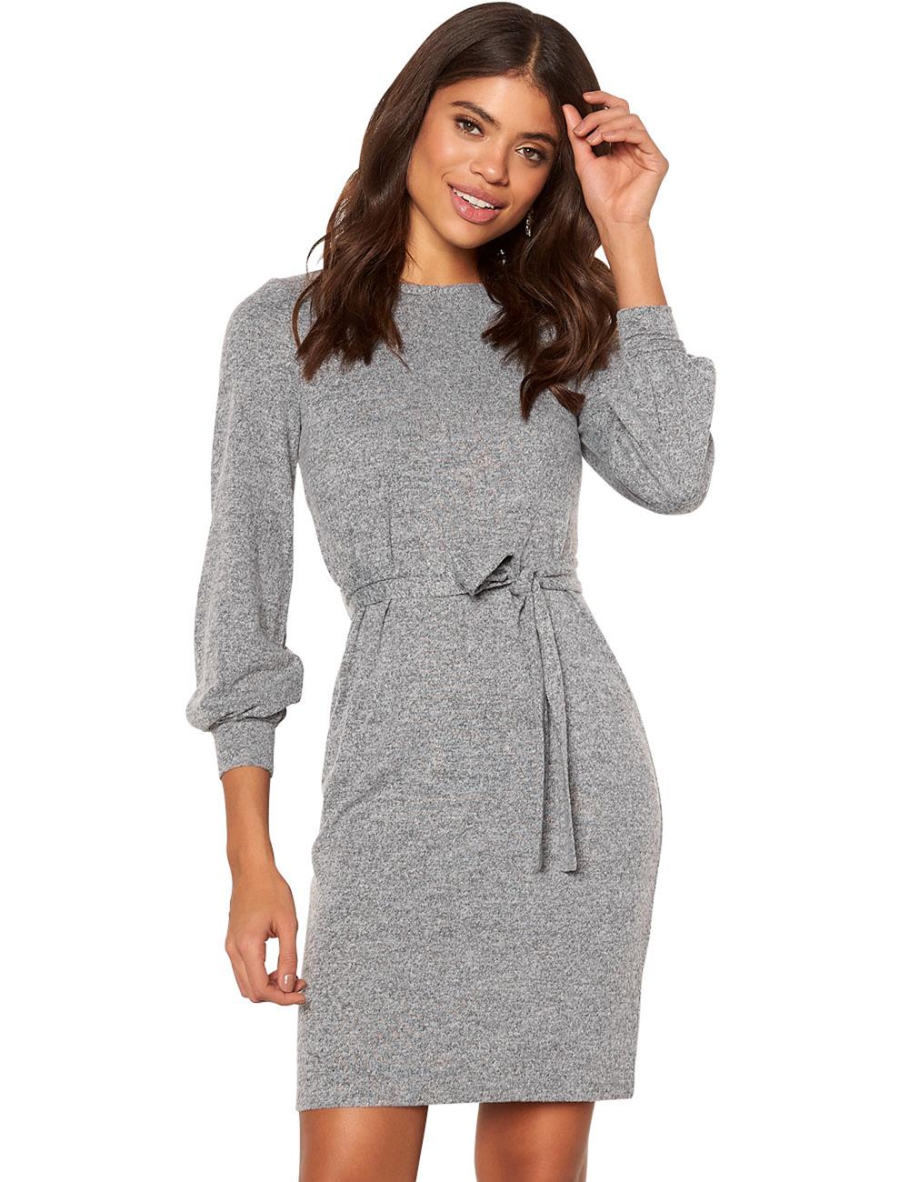 Kleid von Happy Holly mit langen Ärmeln, grau meliert