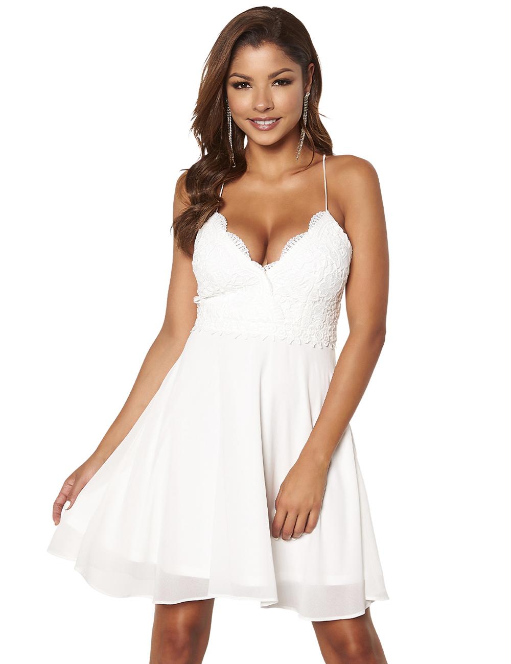 promo code 0f691 be79e Kleid mit Spitze und Chiffon von Chiara Forthi, weiss