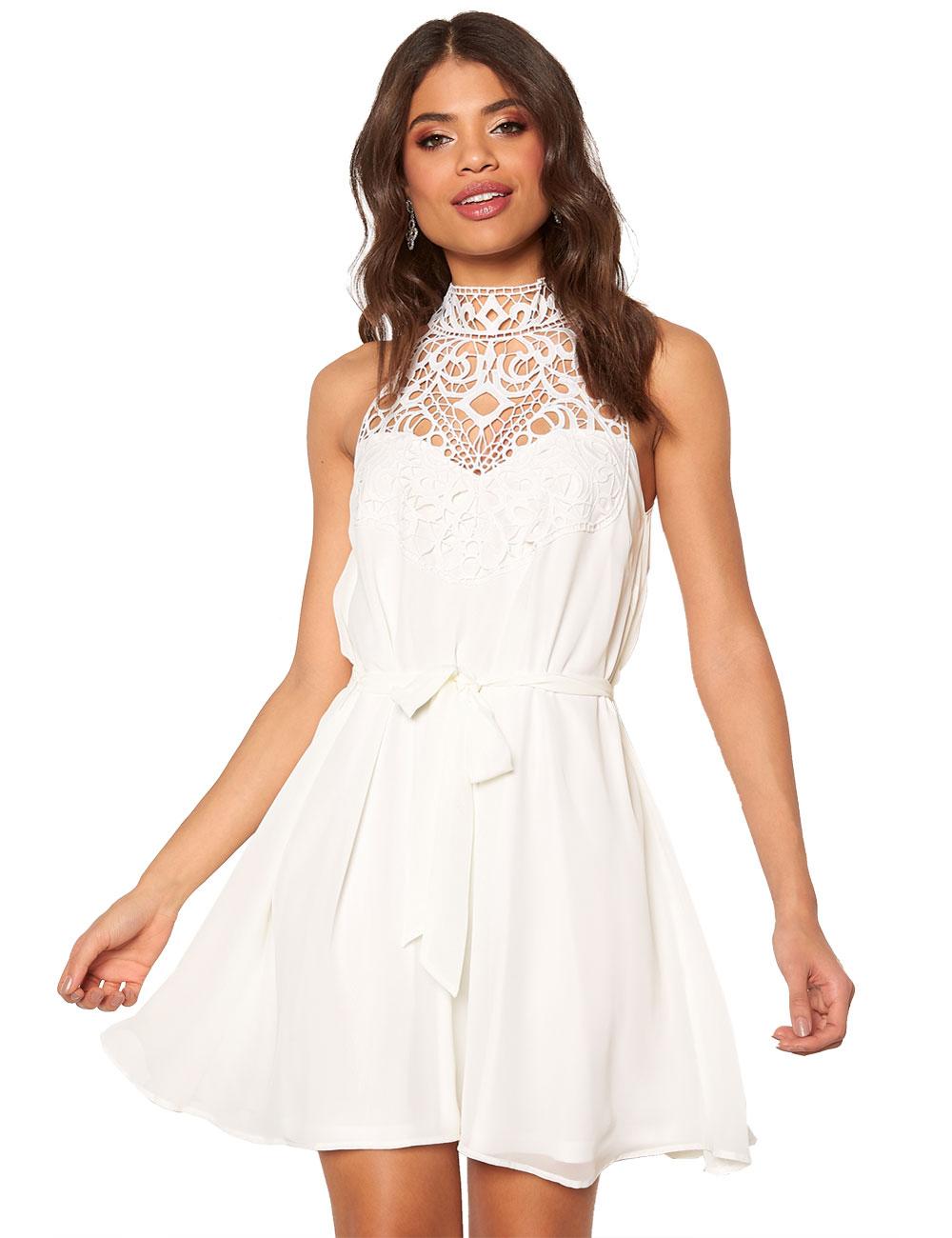 Kurzes Kleid von Bubbleroom mit Spitze, weiss