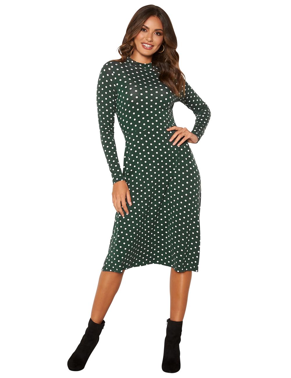 Kleid Happy Holly mit Punkten, dunkelgrün