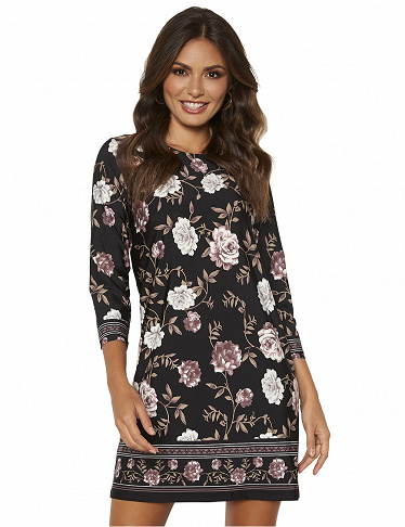Kleid floral Happy Holly, schwarz/geblümt