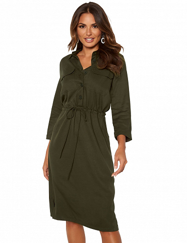 Hemdblusen-Kleid von Happy Holly, khaki