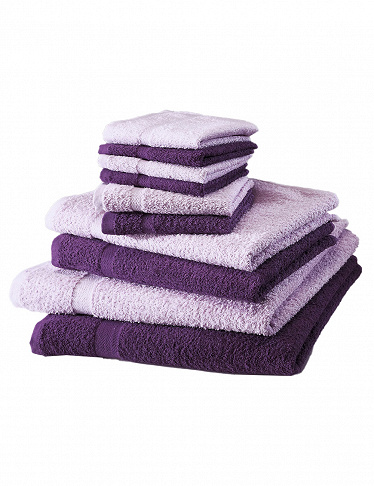 10-teiliges Frottee-Set, superflauschig, violett/lila
