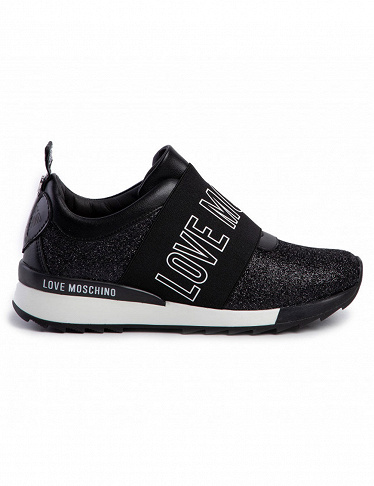 Love Moschino Sneakers mit Pailletten, schwarz