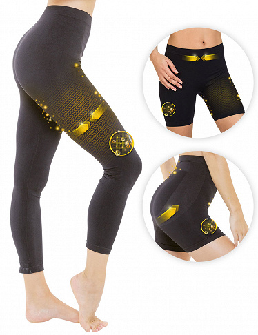 Lipoactif Running-Ensemble, Leggings + Panty + Shorty, schwarz