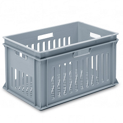 Stackable container - slotted sidewalls, grated base & 4 handle slots