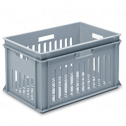 Stackable container - slotted sidewalls, slotted base & 4 handle slots