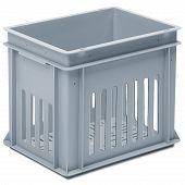 Stackable container - slotted sidewalls, slotted base, 2 shell handles