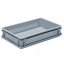 Stackable container-perforated sidewalls,solid base and 2 shell handle