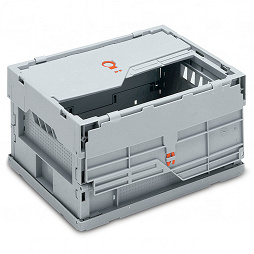 Foldable box-solid sidewalls & base with locking and 2 part lid