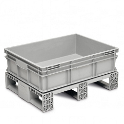 Stackable container-solid sidewalls, solid base, 3 runners crossways.