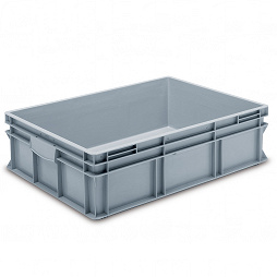 Stackable container - solid sidewalls, double base and 2 shell handles