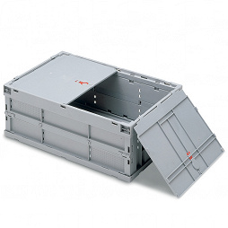 Foldable box - solid sidewalls & base, 2 part lid and with locking.
